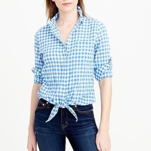 J Crew Tie Front Blue Gingham Boy Shirt Sz 8